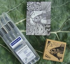 Zentangle and rubber stamp idea