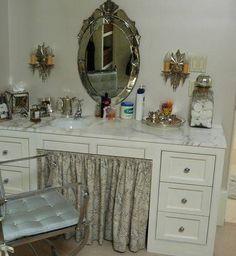 decor, idea, makeup vanities, skirts, old dressers, dresser turn, candles, vanity tables, furnitur