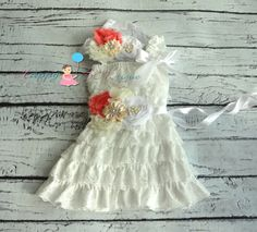 Vintage White Coral Lace Dress Flower girls by HappyBOWtique, $64.99