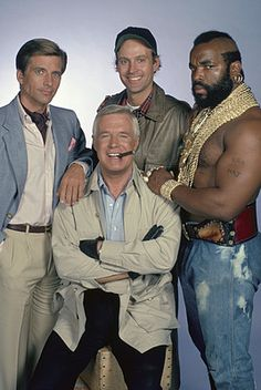 """The main cast of The A-Team: H. M. Murdock (Dwight Schultz), B. A. Baracus (Mr. T), John """"Hannibal"""" Smith (George Peppard), and Templeton """"Faceman"""" Peck (Dirk Benedict)."""