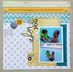 SRM Stickers - @Tracey Taylor created this wonderful summer layout. I ADORE it! Love the stitched border strip element. That's a SRM Sticker!