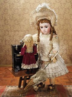 Grand French Bisque Bebe Triste by Emile Jumeau,Size 15,with Signed Jumeau Shoes