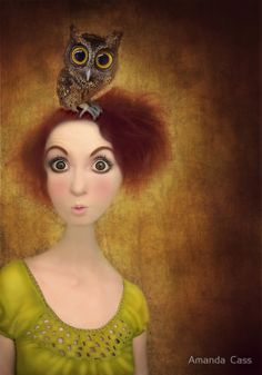 owl and girl by Amanda Cass