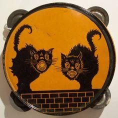 Vintage Halloween Noisemaker ~ Black Cats Tin Tambourine