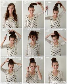 hair down, bun hairstyles, merrick art, hair tutorials, fluffi bun, messy buns, hair buns, bun tutori, sock buns