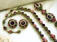 Weiss Jewelry Set Necklace Bracelet Earrings Parure by Laeclectica
