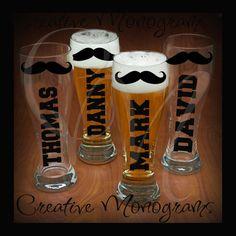 Groom, Bestman, Groomsman Mustache Pilsner Beer Mug Decal Kit DIY. $4.00, via Etsy.... Made me laugh !!!