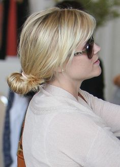 Reese Witherspoons casual, updo hairstyle