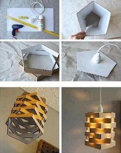 24 DIY Cardboard projects cardboard projects, diy crafts, lamp, cardboard light, cardboard crafts