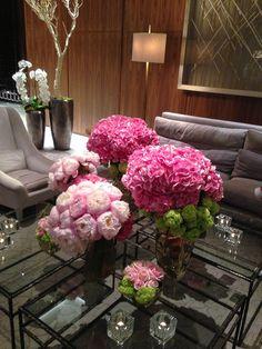 Hydrangeas, peonies and roses in a flower arrangement at @Mandy Dewey Seasons Hotel Toronto