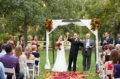 Venue at the Grove- Gorgeous arbor draping and flowers at this outdoor wedding! gorgeous arbor, color, arbor decor, mywed idea, decor arbor, flower, decor idea, arbor drape
