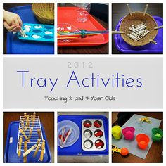 A Collection of Tray Activities for 2 and 3 Year Old's: They'll love these! (Fine motor development, sorting, organizing, planning, matching and more.)