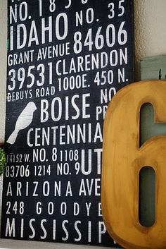 diy address, craft, idea, subway art, handpaint sign