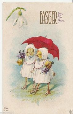 Vintage Postcard Dressed Easter Chicks Red Umbrella