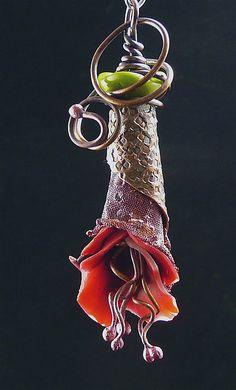 Polymer & copper flower pendant by malodora, via Flickr