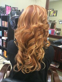 Strawberry blonde long layers curls red hair highlights ombre