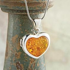 Baltic Amber Heart Locket - National Geographic Store