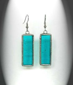 Blue Stained Glass Earrings by AfricanSand