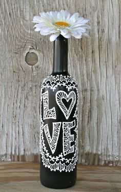 Painted Wine Bottle, Love, Black and White, Wedding centerpiece, Pretty Vase via Etsy
