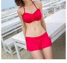 Red Swim Bikini with Folding Side Bra/Solid Red by IdealDesignShop, $38.00