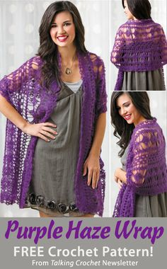 Purple Haze Wrap Download from Talking Crochet newsletter. Click on the photo to access the free pattern. Sign up for this free newsletter here: AnniesNewsletters.com.