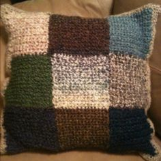 Yarn scrap pillow...my mom made this!