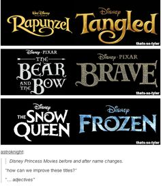 Disney Princess Movies before and after name changes.