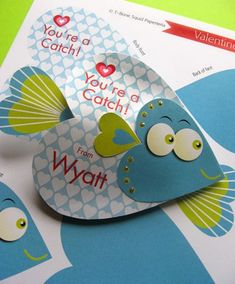 Fish Valentine Craft! Ack! So cute! I made something like this for my door tags when I was an RA