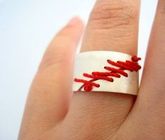 Scar Ring - Sterling Silver with Silk Thrwead and Ceramic Painting