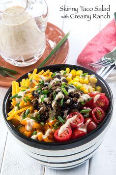 Skinny Taco Salad with Creamy Ranch