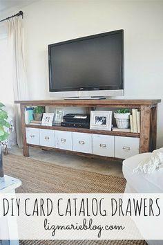 DIY card catalog drawers - lizmarieblog.com