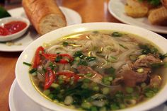 Bowl of Pho Bo (beef soup) in a small cafe in Hanoi, Vietnam - Photo taken by BradJill
