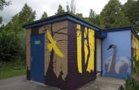 Shed Mural. graphic sillhouettes.