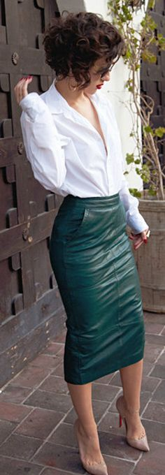i have a red #leather skirt (from the 80s, got it for a $1 while thrifting)... Ive been dying to wear it... believe I need a crisp white v-neck :) red leather skirt, leather skirt outfit, white leather skirt, leather skirts, red street style, white shirts, street styles, pencil skirts, office chic