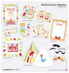 Rainbow Circus Party Printables  Complete Set by CreativeCurrentNZ, $55.00