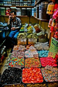 spices and sweets market in the souks of Damascus, Syria
