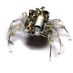 Steampunk Musical Spider Robot Sculpture with by CatherinetteRings http://www.etsy.com/shop/CatherinetteRings