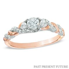 1/2 CT. T.W. Diamond Past Present Future® Twist Engagement Ring in 14K Rose Gold