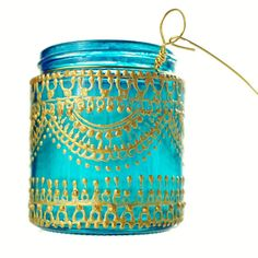 Moroccan Lantern Hanging Jar Candle Holder with Teal Glass and Golden Detailing on Etsy, $12.00