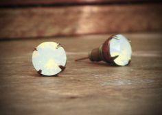 White Opal Rhinestone Stud Earrings, Solitaire, Opaque, Swarovski, Iridescent