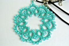 Tatted necklace beadwork lace pendant Elegant by Ilfilochiaro