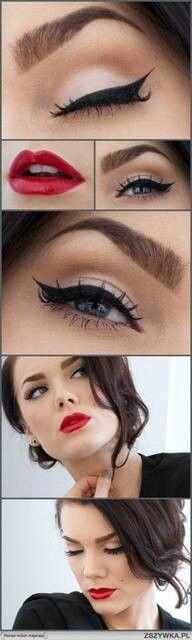 Cat like liquid eyeliner design with bright red lipstick