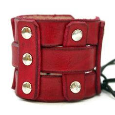 Red Leather Cuff  Wide Woven Handmade Wristband by SnappingDragon, $42.00