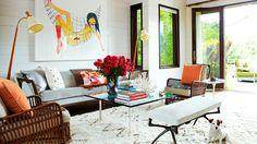 Natural materials, earthy colors and art. Hamptons.