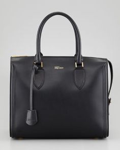 V1LLJ Alexander McQueen Heroine Leather Zip-Up Tote Bag, Black