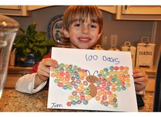 Cute 100th Day Butterfly + 100 froot loop necklace printable!