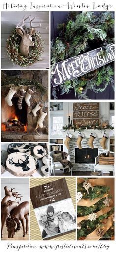 Holiday Inspiration- Winter Lodge- rustic natural burlap, evergreen and wood elements  Christmas ideas for trimming the tree & decking the halls, holiday decor, recipes, crafts   #christmas #holiday #decorate