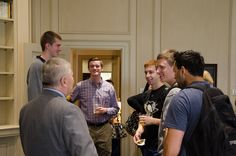 10/10/14 --  Eric Barron talks with students about his new office in Old Main during a tour of Old Main provided by the Lion Ambassadors. Photo by Cameron Hart.
