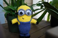 Despicable Me crocheted minion. I used this pattern. http://my-crocheted-world.blogspot.com/2011_10_01_archive.html