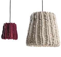 Knitted light shades lend warmth to a room